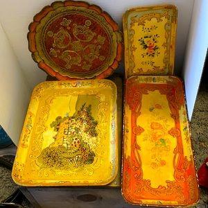 Four Antique Wood Trays Various Sizes 🧡💚